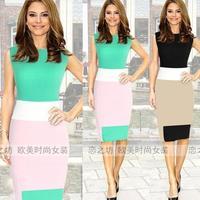 Ebay one-piece dress color mix match sleeveless slim pencil one-piece dress