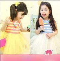 2015 new girls dress fashion baby clothing Stripe cotton gauze tutu dress with necklace,14NOV14