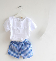 Children Girls Clothing Sets Casual Shirts + Plaid Shorts Short Sleeve White Tshirts & Cotton Pants Summer Outwear Free Shipping
