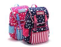 AC420 Cute Sweet star prints stripe stra Cotton Canvas girl children KID school backpack sport bag 2015 new