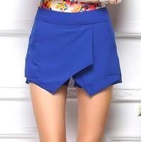 Free Shipping 2014 New Hot S-XL Womens Tiered Shorts Irregular Zipper Trousers Culottes Short Skirt Ladies Girls Short Pants