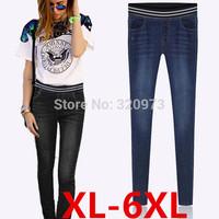 XL-6XL size 2014 new european style extra plus size elastic waist jeans woman pencil pants trousers