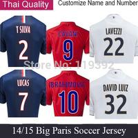 14 15 Paris soccer Jersey IBRAHIMOVIC Jersey DAVID LUIZ Home Blue LUCAS Maillot Camiseta 2015 Away White Red Short Paris Jersey