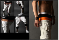 Free ShippingForeign trade provide 2014 wholesale color double belts of hot sports Pant 3-color male