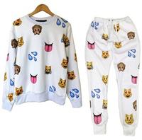 Harajuku new3DEMOJI tracksuits print cartoon emoji jogging suits sweatshirts sports pants men/women casual sportwear