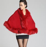 2014 Winter warm Pashmina Women's Rabbit Fur Cape Fox Fur Collar Shawl Hooded Fur Coat