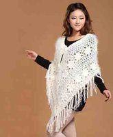 2014 New Spring and Autumn Fall Women's Batwing Bat Sleeve Tassels Knitting Knitwear Top Jumper Fringe Poncho Sweater Ruana