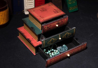 Classic Wooden Book Bookends Library Hidden Drawers