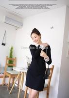 Fashion Winter Lace Collar Women Dress ,Above Knee Mini sexy Black Dress, Good Quality wool Dress