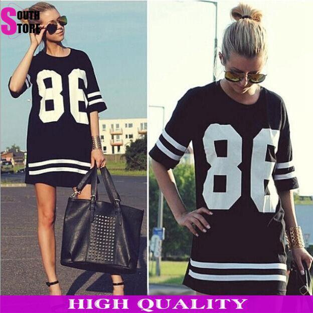 2014 Summer Women Celebrity 86 Printed Vestidos American Baseball T Shirt Top Short Sleeve Mini Casual Dress vestido de festa(China (Mainland))