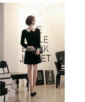Free Shipping Winter Office Business Dress ,Cute Full Sleeve Knee-Lenght Dress Black Empire Peter Pan Collar Dress