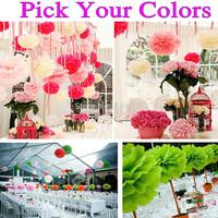 "150pcs 14""(35cm) Pick Your Colors Wholesale Tissue Paper Pom Poms Party Flowers,Handmade Garland Wedding Christmas Decorations"