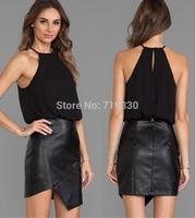 2014 European New Fashion Summer Women Halter Chiffon & PU Joint Casual Dress Ladies Night Club Sexy Dress Vestido Free Shipping