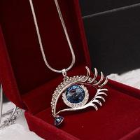 2014 New Style Fashion Women Long Sweater Necklace Blue Crystal Rhinestone Angel Eye Pendant Necklace FN0388