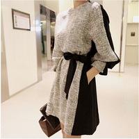 European Grand Prix 2014 Hitz Korean version was thin big yards long sleeve lace stitching bottoming dress 4315