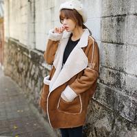201 winter deerskin fleece berber fleece outerwear female medium-long thermal thickening wadded jacket long-sleeve cotton-padded
