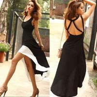 Summer fashion women patchwork square collar spaghetti strap sweep racerback asymmetrical formal dress one-piece dress