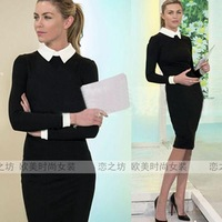 Autumn fashion women's ol long-sleeve turn-down collar one-piece dress slim hip skirt dr ess for ebay