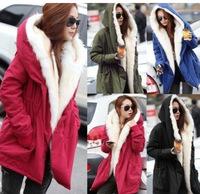 2014 New Womens Long Sleeve Thicken Fleece Hooded Parka Zipper Overcoat Winter Jacket Coat Plus S M L XL Free Shipping