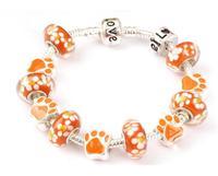 new design orange charm bracelets glass beads bracelet for women european bracelet for women wholesale dropship free shipping