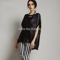 2014 summer lady fashion personality loose plus size short sleeve shirt fashion chiffon shirt for women brand Irregular t shirt