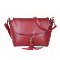 Women Handbag Genuine Leather Bag Cowhide Women Shoulder Bag Women Tassel Handbag Shoulder Bags Vintage Handbag women bag D-096