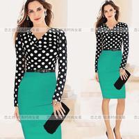 Autumn and winter fashion women's long-sleeve slim plus size one-piece dress ebay
