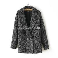 2014 all-match wool coat Women houndstooth pocket wool coat batwing sleeve fashion
