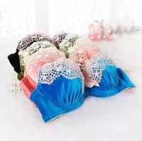 2014 autumn and winter fashion plush luxury 3-breasted bra set, blue, pink, green, black push up underwear set wholesale, retail