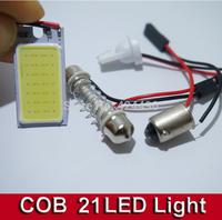 10pcs COB Chip 21 led LED Car Interior Light T10 Festoon Dome BA9S Adapter 12V,Wholesale Car Vehicle LED Panel