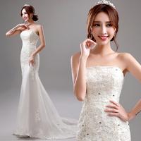 2014 Bride tube top bandage lace wedding dress fish tail train wedding dress winter A2287#