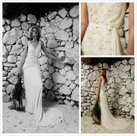 V Neck Wedding Dresses Sleeveless Zipper Back Lace Applique Elegant Court Train Chiffon Bridal Gowns Custom Made 2014