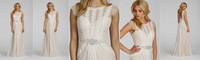 Charming 2014 New A Line Wedding Dresses Capped Short Sleeve Jewel Lace Elegant Sweep Train Bridal Gown
