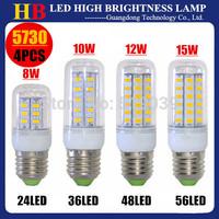 4x High bright SMD5730 E27 E14 G9 GU10 B22 8W 10W 12W 15W Energy saving 24/36/48/56LEDs AC110/220V LED Corn bulb Lamp 360 degree