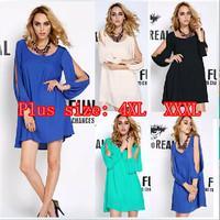 New Arrival 2015 V-neck Loose Asymmetrical Casual Chiffon Mini Dresses Women sexy mini Dress Plus size XXL / XXXL/ 4XL,10 Colors