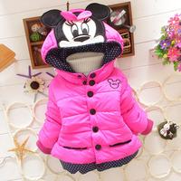 4pc/lot baby girls coats thicken winter mickey kids outerwear fleece children jackets clothes wholesale panya 235