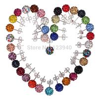 2014  double Faced Pearl Stud Earring Elegant Temperament Crystal shamballa beads earrings