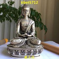 "20 cm tall Tibetan Buddhist bronze coated sivler carving dragon amitabha buddha statue 8 """
