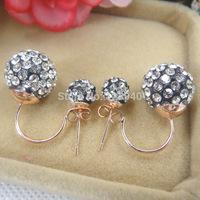 Free Shipping 20 pcs/ lot  Circular ring ball ear stud double side earring candy bib shamballa earring mix colors