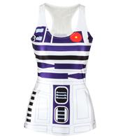 Fashion Womens T-shirt R2D2 Artoo Galaxy Crop Tops Sexy Camisole