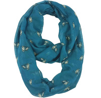 Blue Owl Bird Print Infinity Scarf Cowl Circle Accessories Gift for Ladies, Free Shipping