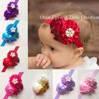 2014 design Infant baby girls rosette flower sequin bow headband Crystal button children hair accessories photo prog DIY mix