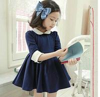 2014 New ARRIVAL Temperament Half Sleeve Baby Girl Princess Dress / Dresses Kids Fluffy Dress Navy Free shipping 4pc/lot