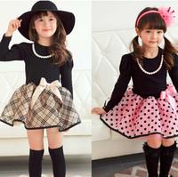 Wholesale 5pc/ lot Fashion Long Sleeve Black Top Plaid Dot Bottom Children Princess Dress Spring Autumn Girl Dress