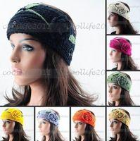 2015 Flower Leaves Knit Crochet Headband Headwrap Lady Women HairBand Button