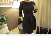 Jacquard Mini Bud Dresses Long Sleeve O-neck Fashion OL Dress For women 2014 Summer autumn