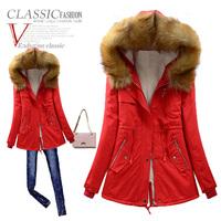 2014 winter jacket women medium-long winter berber fleece thickening wadded coat with a hood parkas for women