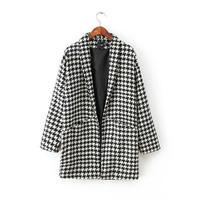 Women Wool Coat 2014 Winter Woolen Overcoat Fashion Trench Houndstooth Long Warm Woolen Coat  Hot Free Shipping 3092