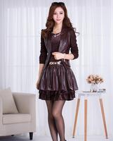 Fall Winter 2014 Fashion PU Leather OL New casual-jacket Dress Slim Fit Long Sleeve Plus Size Crop Top 2 Piece Set Women