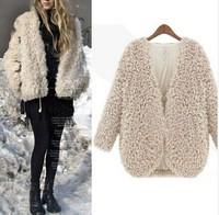 2014 New European Style Women's Autum,n Fashion Slim  Thin  Faux Fur Coat Free Shipping R1602